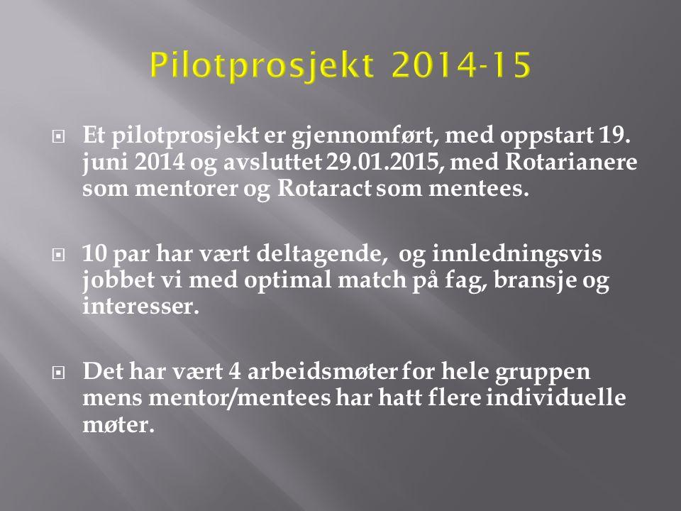  Et pilotprosjekt er gjennomført, med oppstart 19. juni 2014 og avsluttet 29.01.2015, med Rotarianere som mentorer og Rotaract som mentees.  10 par