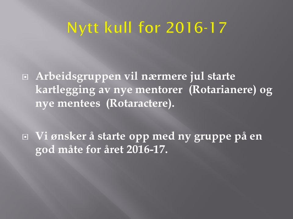  Arbeidsgruppen vil nærmere jul starte kartlegging av nye mentorer (Rotarianere) og nye mentees (Rotaractere).  Vi ønsker å starte opp med ny gruppe