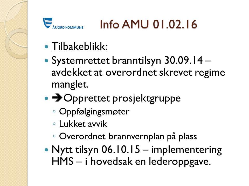 Info AMU 01.02.16 Info AMU 01.02.16 Tilbakeblikk: Systemrettet branntilsyn 30.09.14 – avdekket at overordnet skrevet regime manglet.