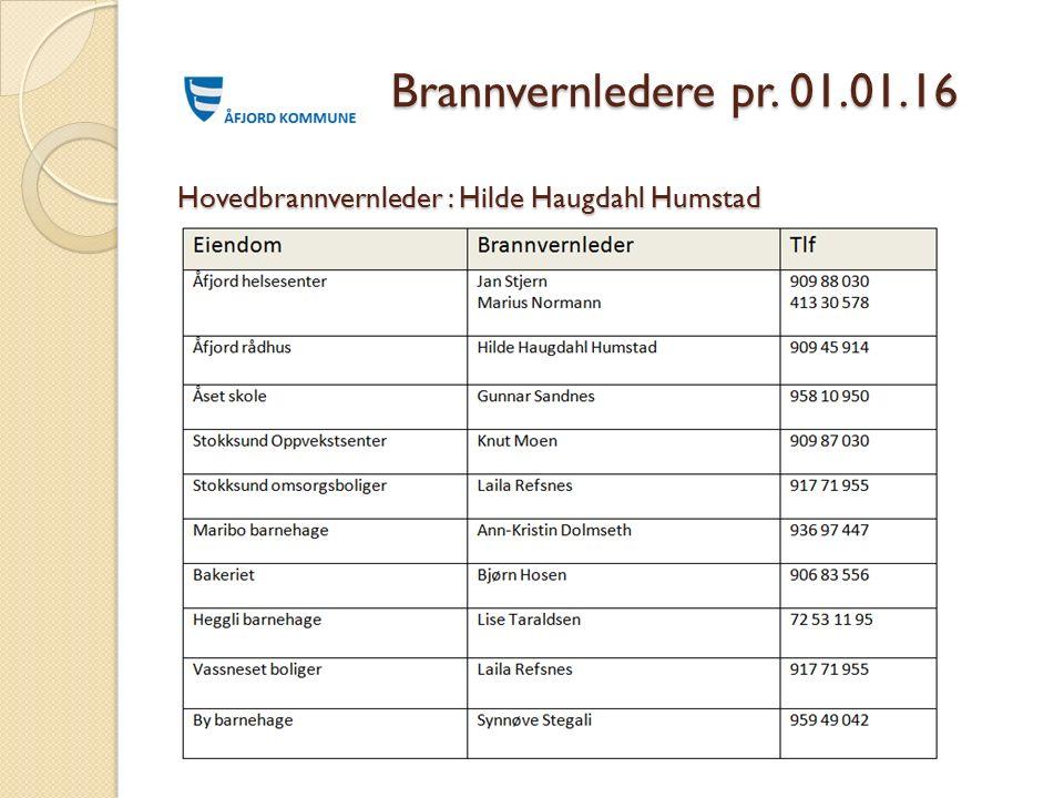 Brannvernledere pr. 01.01.16 Hovedbrannvernleder : Hilde Haugdahl Humstad