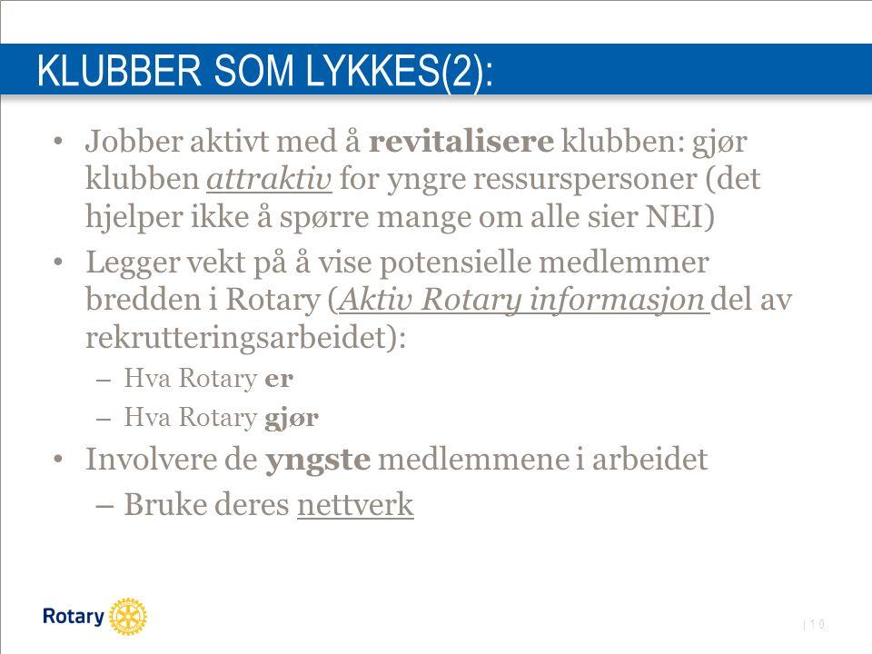 | 10 KLUBBER SOM LYKKES(2): Jobber aktivt med å revitalisere klubben: gjør klubben attraktiv for yngre ressurspersoner (det hjelper ikke å spørre mange om alle sier NEI) Legger vekt på å vise potensielle medlemmer bredden i Rotary (Aktiv Rotary informasjon del av rekrutteringsarbeidet): – Hva Rotary er – Hva Rotary gjør Involvere de yngste medlemmene i arbeidet – Bruke deres nettverk