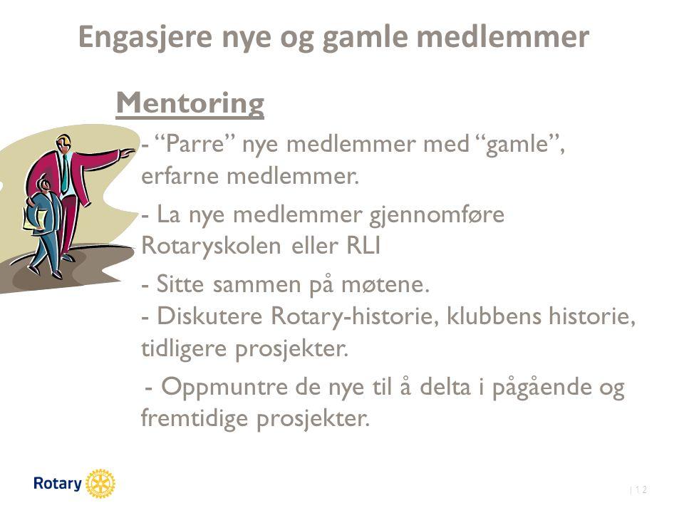 | 12 Engasjere nye og gamle medlemmer Mentoring - Parre nye medlemmer med gamle , erfarne medlemmer.