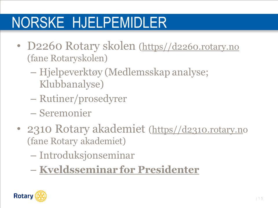 | 15 NORSKE HJELPEMIDLER D2260 Rotary skolen (https//d2260.rotary.no (fane Rotaryskolen) – Hjelpeverktøy (Medlemsskap analyse; Klubbanalyse) – Rutiner/prosedyrer – Seremonier 2310 Rotary akademiet (https//d2310.rotary.no (fane Rotary akademiet) – Introduksjonseminar – Kveldsseminar for Presidenter
