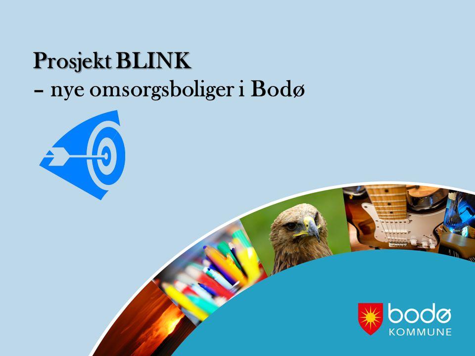 Prosjekt BLINK – nye omsorgsboliger i Bodø Prosjekt BLINK – nye omsorgsboliger i Bodø Søkt og fått innvilget kompetansetilskudd fra Husbanken Brukermedvirkning i alle faser av prosjektene fra definering av behov til innflytting Langsiktighet i utvikling av arealer og fleksible bygg som muliggjør endret bruk på sikt, samt avdekke boligbehov på et tidlig tidspunkt.
