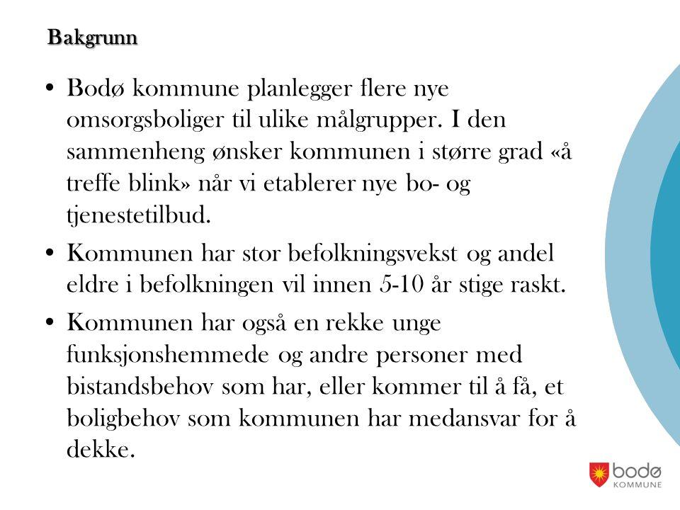 Bakgrunn Bodø kommune planlegger flere nye omsorgsboliger til ulike målgrupper. I den sammenheng ønsker kommunen i større grad «å treffe blink» når vi