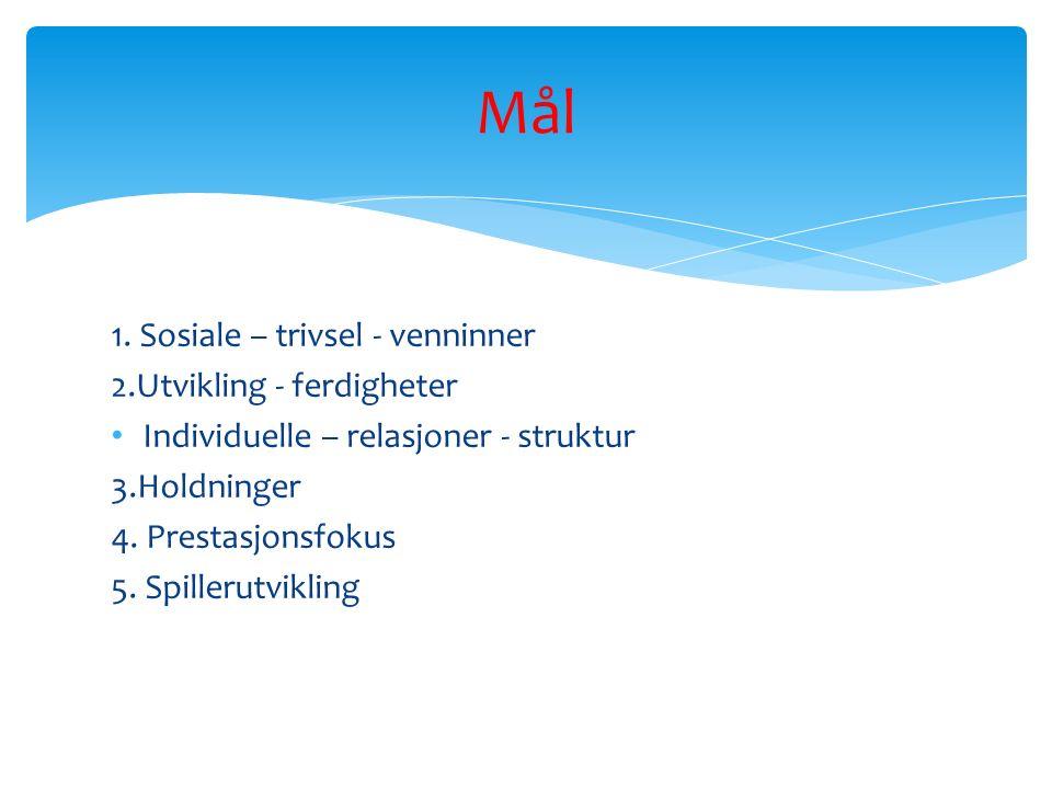 1. Sosiale – trivsel - venninner 2.Utvikling - ferdigheter Individuelle – relasjoner - struktur 3.Holdninger 4. Prestasjonsfokus 5. Spillerutvikling M