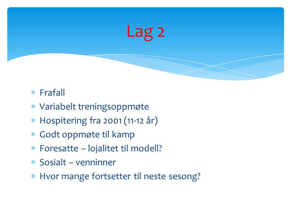  Frafall  Variabelt treningsoppmøte  Hospitering fra 2001 (11-12 år)  Godt oppmøte til kamp  Foresatte – lojalitet til modell.