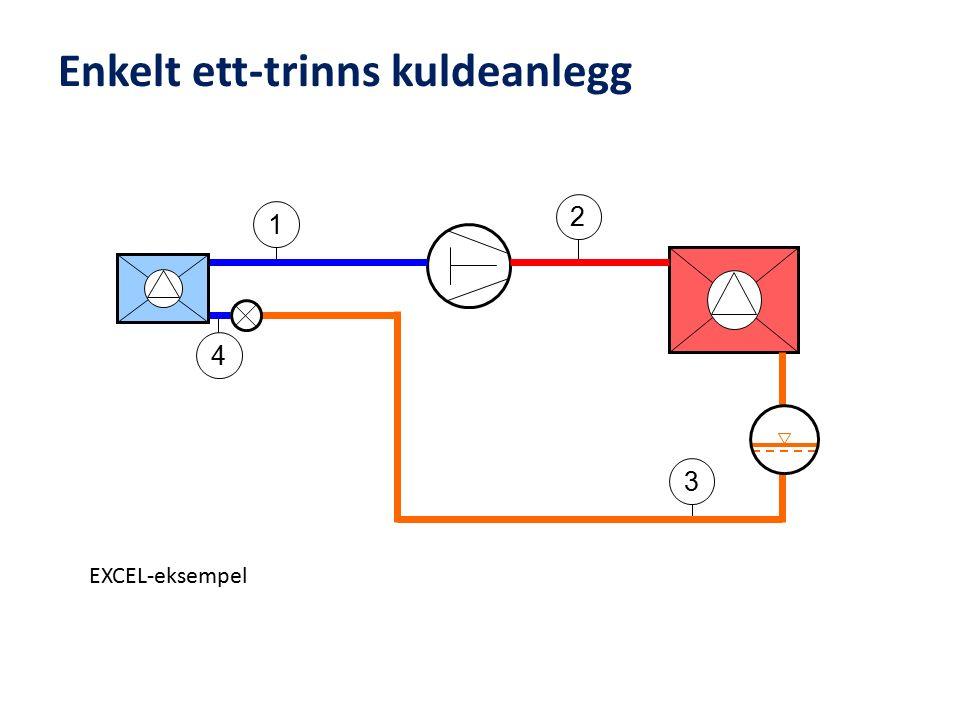 Enkelt ett-trinns kuldeanlegg 2 4 3 1 EXCEL-eksempel