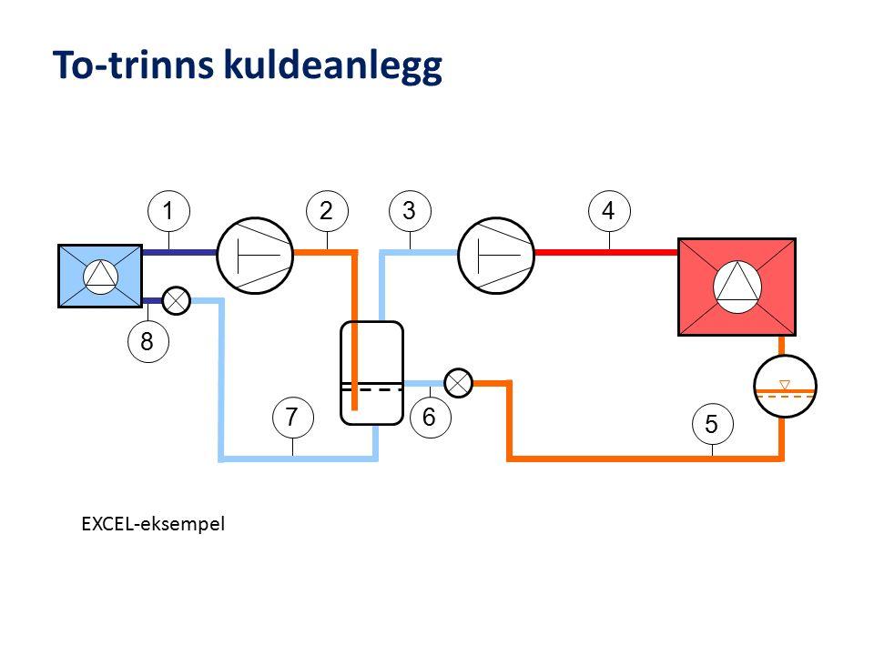 To-trinns kuldeanlegg 3 6 5 4 8 7 21 EXCEL-eksempel