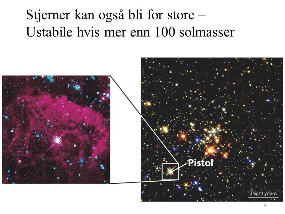 17 Stjerner kan også bli for store – Ustabile hvis mer enn 100 solmasser