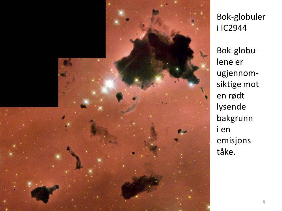 AST1010 - Stjerners dannelse og livsfaser9 Bok-globuler i IC2944 Bok-globu- lene er ugjennom- siktige mot en rødt lysende bakgrunn i en emisjons- tåke.