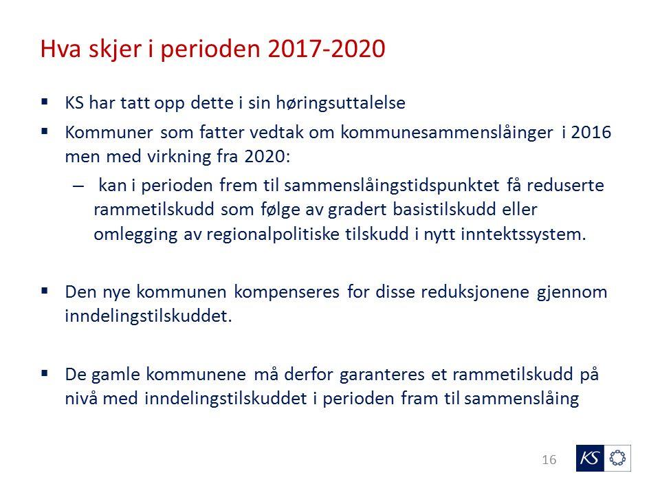 Hva skjer i perioden 2017-2020 16  KS har tatt opp dette i sin høringsuttalelse  Kommuner som fatter vedtak om kommunesammenslåinger i 2016 men med virkning fra 2020: – kan i perioden frem til sammenslåingstidspunktet få reduserte rammetilskudd som følge av gradert basistilskudd eller omlegging av regionalpolitiske tilskudd i nytt inntektssystem.