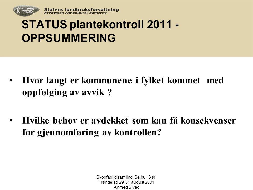 STATUS plantekontroll 2011 - OPPSUMMERING Hvor langt er kommunene i fylket kommet med oppfølging av avvik ? Hvilke behov er avdekket som kan få konsek