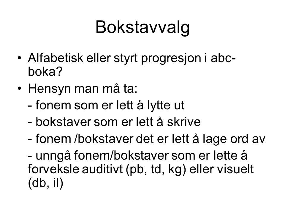 Bokstavvalg Alfabetisk eller styrt progresjon i abc- boka? Hensyn man må ta: - fonem som er lett å lytte ut - bokstaver som er lett å skrive - fonem /