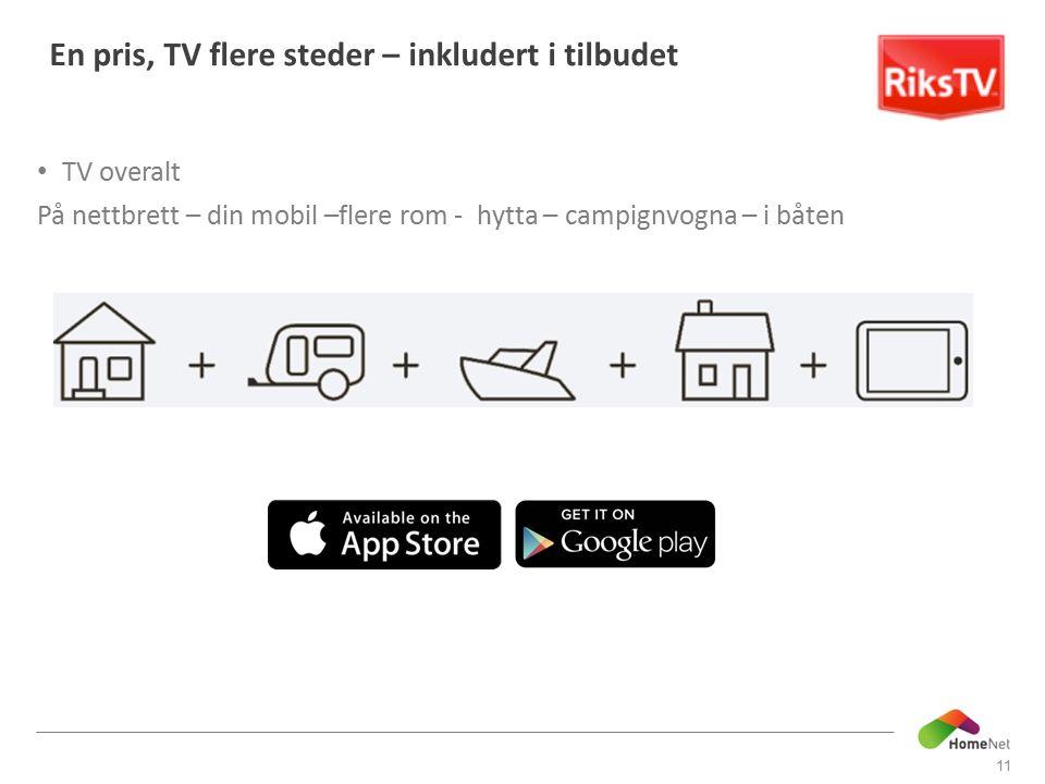 TV overalt På nettbrett – din mobil –flere rom - hytta – campignvogna – i båten 11 En pris, TV flere steder – inkludert i tilbudet