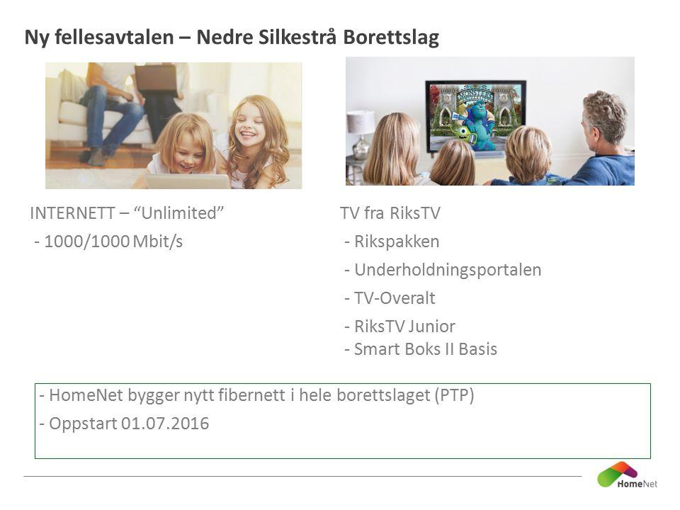 """Ny fellesavtalen – Nedre Silkestrå Borettslag INTERNETT – """"Unlimited"""" - 1000/1000 Mbit/s TV fra RiksTV - Rikspakken - Underholdningsportalen - TV-Over"""