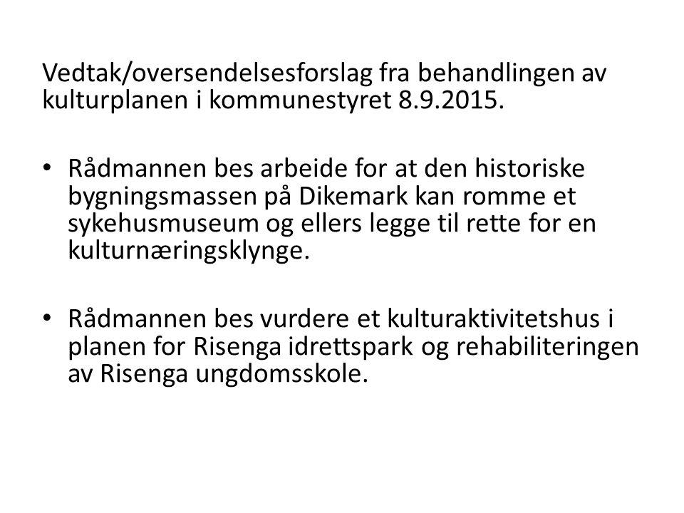 Vedtak/oversendelsesforslag fra behandlingen av kulturplanen i kommunestyret 8.9.2015. Rådmannen bes arbeide for at den historiske bygningsmassen på D