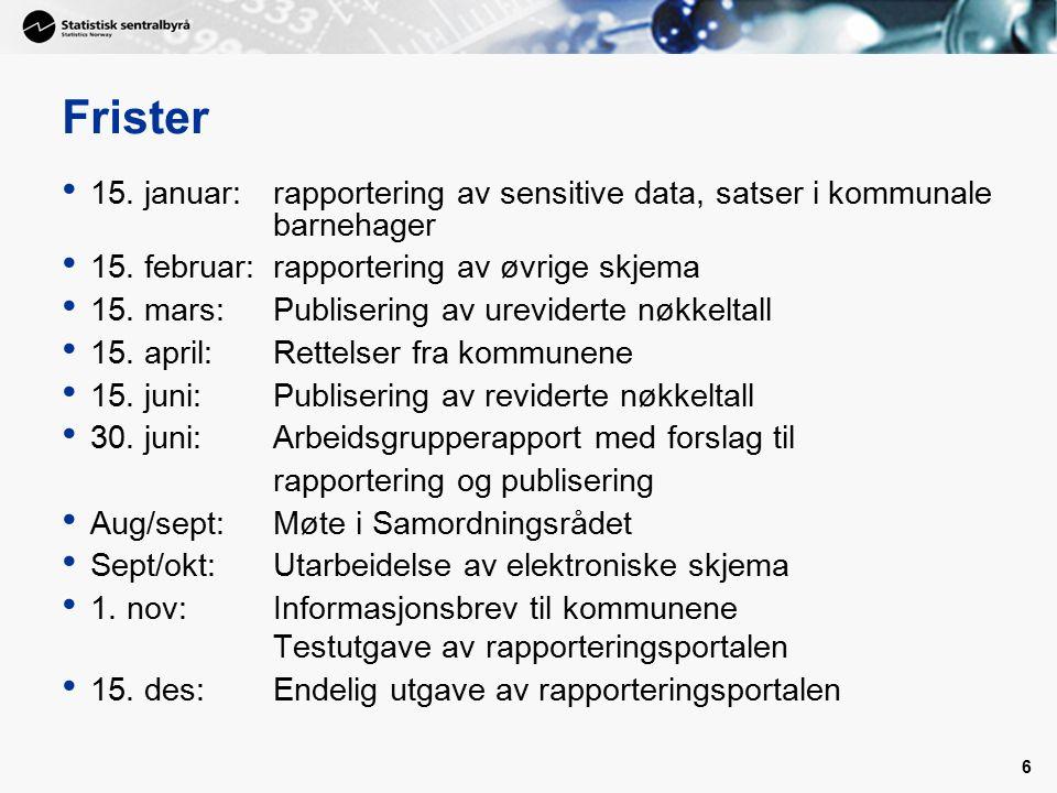 6 Frister 15. januar: rapportering av sensitive data, satser i kommunale barnehager 15.