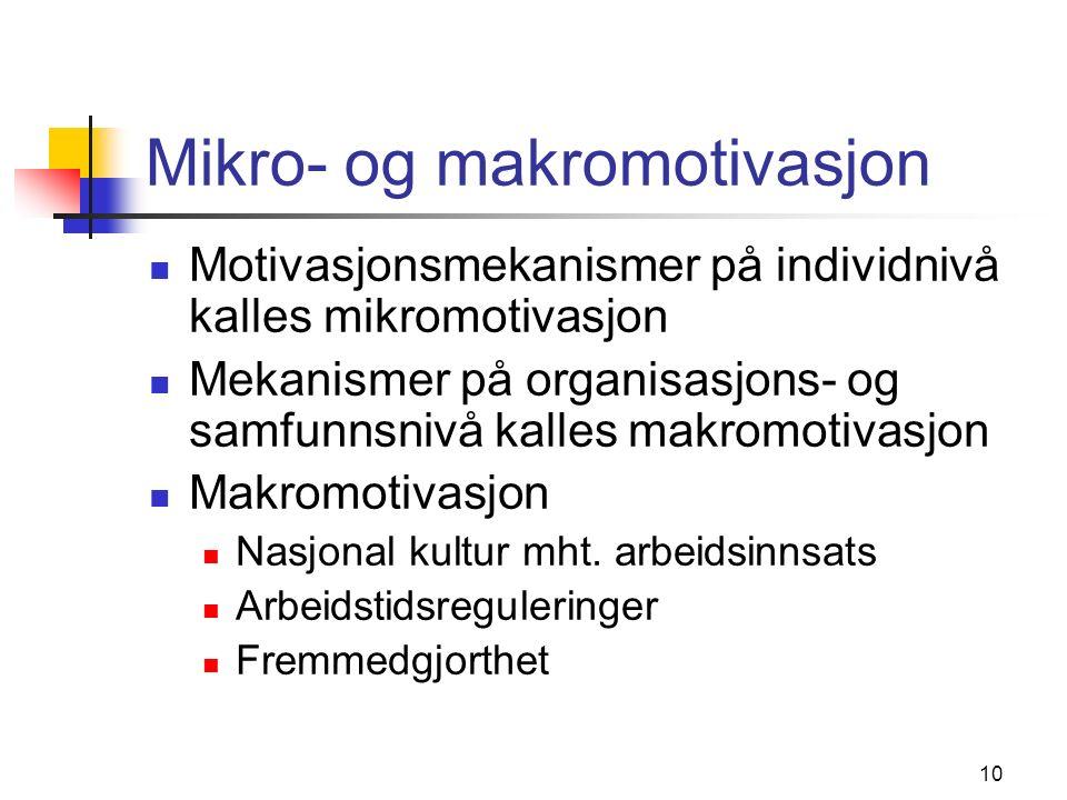 10 Mikro- og makromotivasjon Motivasjonsmekanismer på individnivå kalles mikromotivasjon Mekanismer på organisasjons- og samfunnsnivå kalles makromotivasjon Makromotivasjon Nasjonal kultur mht.