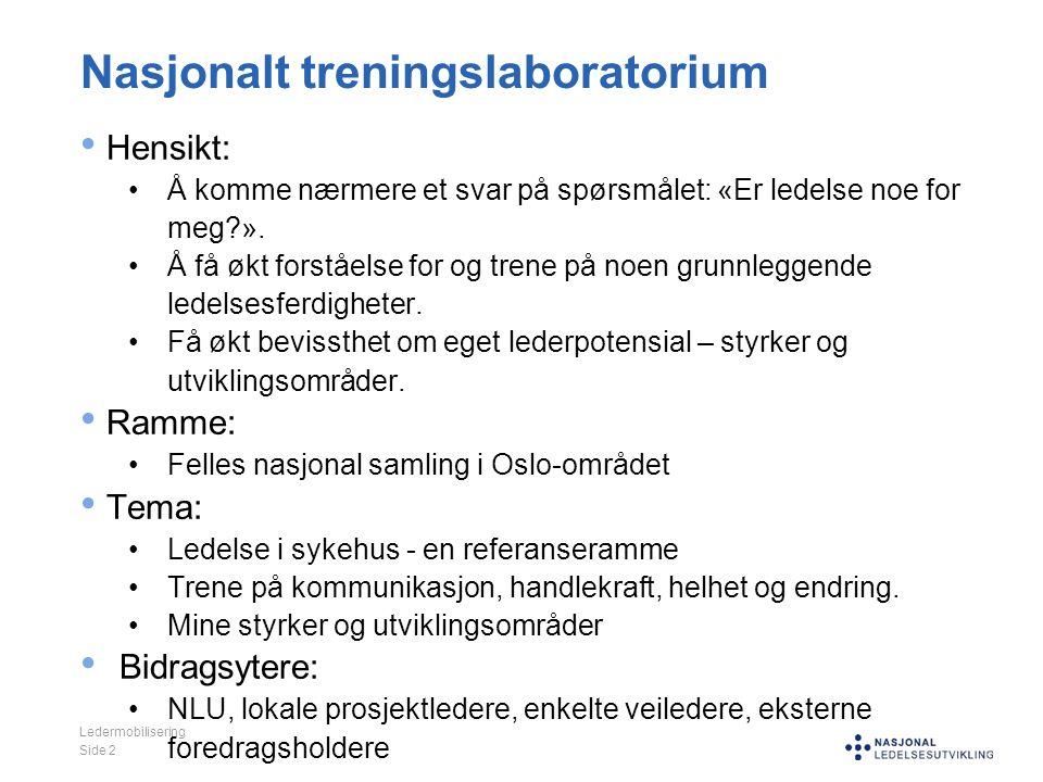 Nasjonalt treningslaboratorium Hensikt: Å komme nærmere et svar på spørsmålet: «Er ledelse noe for meg ».