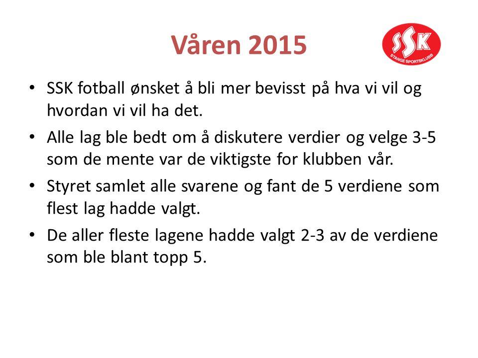 Våren 2015 SSK fotball ønsket å bli mer bevisst på hva vi vil og hvordan vi vil ha det. Alle lag ble bedt om å diskutere verdier og velge 3-5 som de m