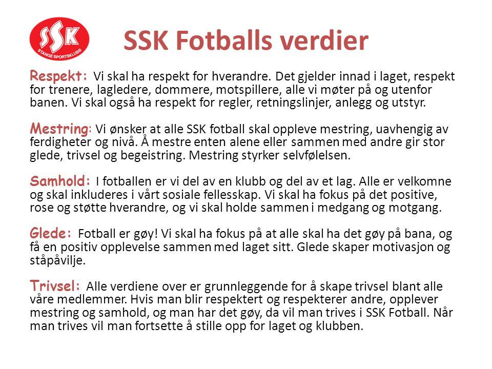SSK Fotballs verdier Respekt: Vi skal ha respekt for hverandre. Det gjelder innad i laget, respekt for trenere, lagledere, dommere, motspillere, alle