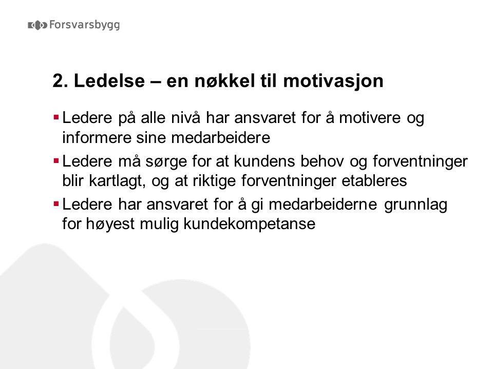 2. Ledelse – en nøkkel til motivasjon  Ledere på alle nivå har ansvaret for å motivere og informere sine medarbeidere  Ledere må sørge for at kunden