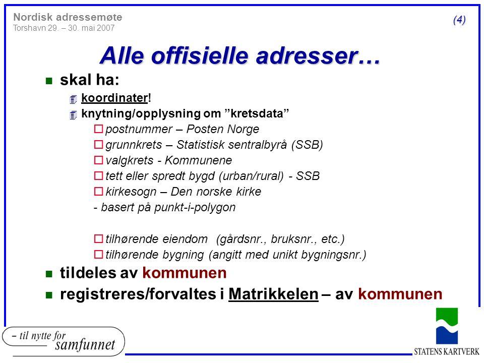 n Vegadresse Knarrevikveien 58 (5) Nordisk adressemøte Torshavn 29.
