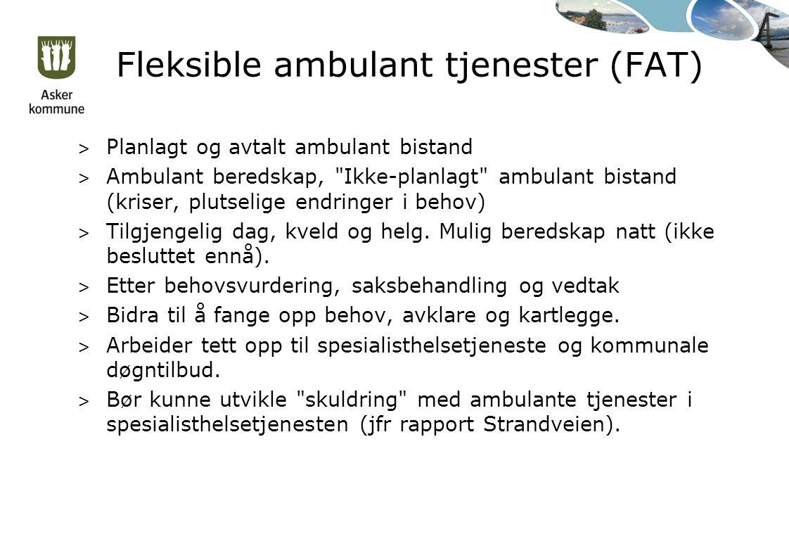 Fleksible ambulant tjenester (FAT) > Planlagt og avtalt ambulant bistand > Ambulant beredskap, Ikke-planlagt ambulant bistand (kriser, plutselige endringer i behov) > Tilgjengelig dag, kveld og helg.