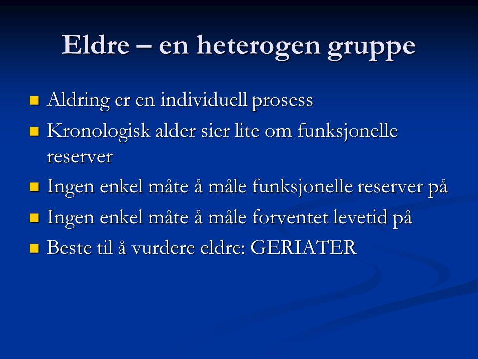 Eldre – en heterogen gruppe Aldring er en individuell prosess Aldring er en individuell prosess Kronologisk alder sier lite om funksjonelle reserver K