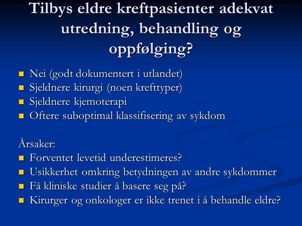 Tilbys eldre kreftpasienter adekvat utredning, behandling og oppfølging? Nei (godt dokumentert i utlandet) Nei (godt dokumentert i utlandet) Sjeldnere