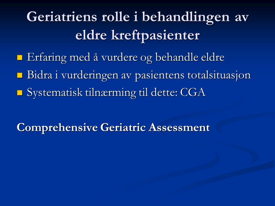 Geriatriens rolle i behandlingen av eldre kreftpasienter Erfaring med å vurdere og behandle eldre Erfaring med å vurdere og behandle eldre Bidra i vurderingen av pasientens totalsituasjon Bidra i vurderingen av pasientens totalsituasjon Systematisk tilnærming til dette: CGA Systematisk tilnærming til dette: CGA Comprehensive Geriatric Assessment