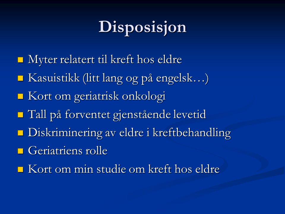 Disposisjon Myter relatert til kreft hos eldre Myter relatert til kreft hos eldre Kasuistikk (litt lang og på engelsk…) Kasuistikk (litt lang og på en
