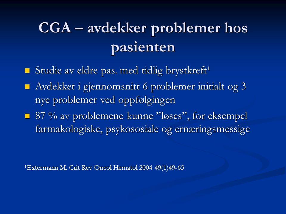 CGA – avdekker problemer hos pasienten Studie av eldre pas. med tidlig brystkreft¹ Studie av eldre pas. med tidlig brystkreft¹ Avdekket i gjennomsnitt