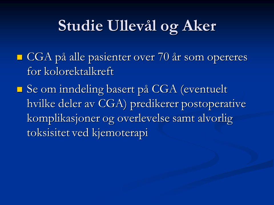 Studie Ullevål og Aker CGA på alle pasienter over 70 år som opereres for kolorektalkreft CGA på alle pasienter over 70 år som opereres for kolorektalk