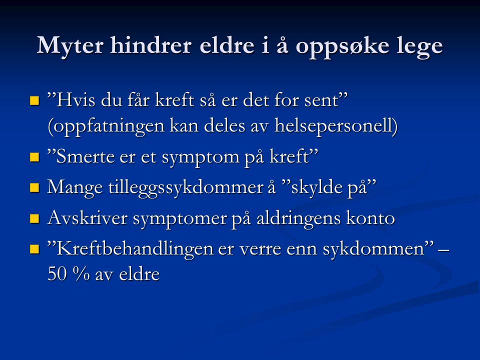 Myter hindrer eldre i å oppsøke lege Hvis du får kreft så er det for sent (oppfatningen kan deles av helsepersonell) Hvis du får kreft så er det for sent (oppfatningen kan deles av helsepersonell) Smerte er et symptom på kreft Smerte er et symptom på kreft Mange tilleggssykdommer å skylde på Mange tilleggssykdommer å skylde på Avskriver symptomer på aldringens konto Avskriver symptomer på aldringens konto Kreftbehandlingen er verre enn sykdommen – 50 % av eldre Kreftbehandlingen er verre enn sykdommen – 50 % av eldre