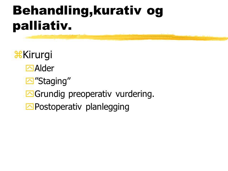 Behandling,kurativ og palliativ. zKirurgi yAlder y Staging yGrundig preoperativ vurdering.