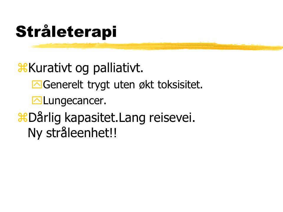 Stråleterapi zKurativt og palliativt. yGenerelt trygt uten økt toksisitet. yLungecancer. zDårlig kapasitet.Lang reisevei. Ny stråleenhet!!
