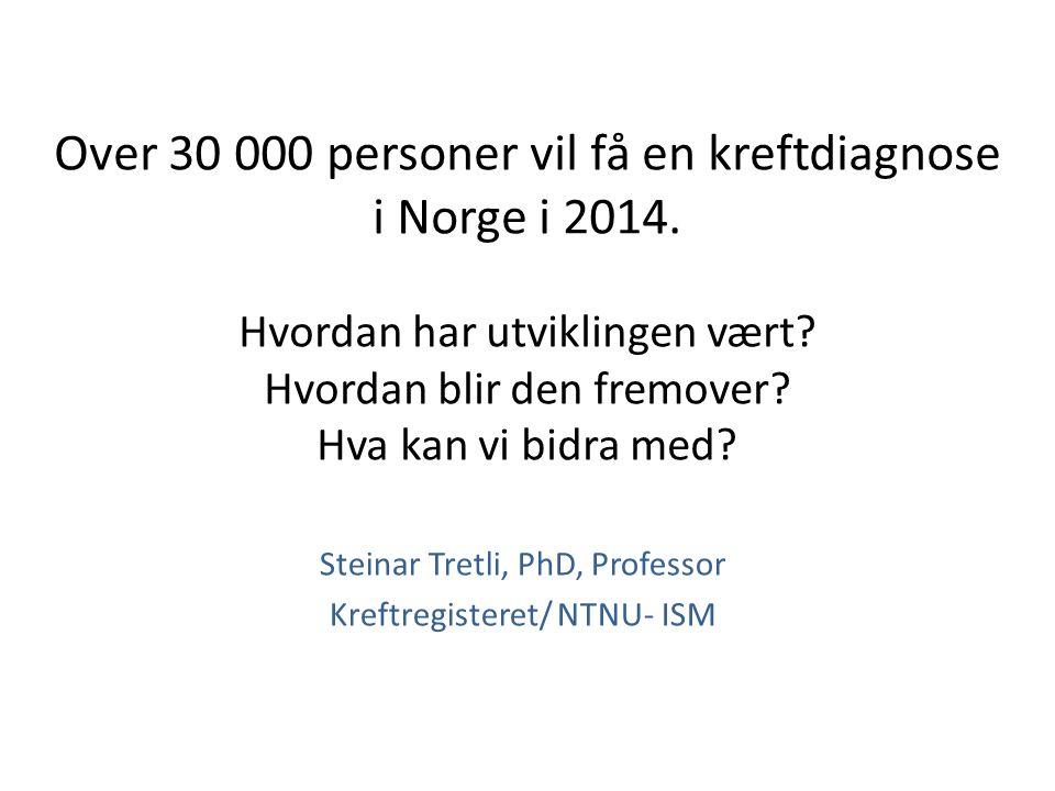 Over 30 000 personer vil få en kreftdiagnose i Norge i 2014. Hvordan har utviklingen vært? Hvordan blir den fremover? Hva kan vi bidra med? Steinar Tr