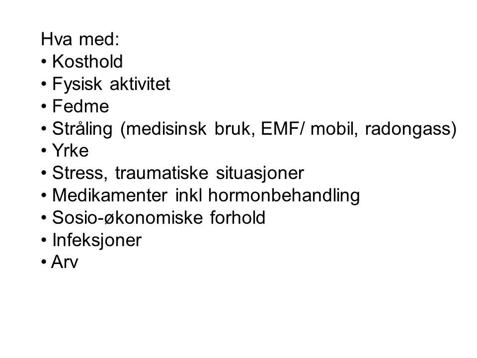 Hva med: Kosthold Fysisk aktivitet Fedme Stråling (medisinsk bruk, EMF/ mobil, radongass) Yrke Stress, traumatiske situasjoner Medikamenter inkl hormo