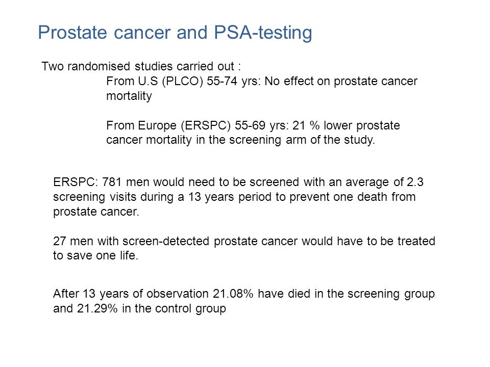 Prostate cancer and PSA-testing Two randomised studies carried out : From U.S (PLCO) 55-74 yrs: No effect on prostate cancer mortality From Europe (ER