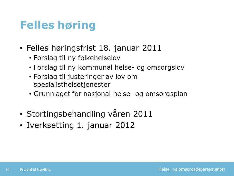 Helse- og omsorgsdepartementet Felles høring Felles høringsfrist 18. januar 2011 Forslag til ny folkehelselov Forslag til ny kommunal helse- og omsorg