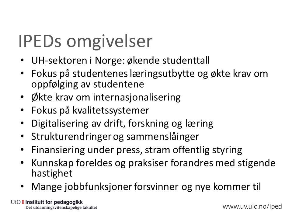 IPEDs omgivelser UH-sektoren i Norge: økende studenttall Fokus på studentenes læringsutbytte og økte krav om oppfølging av studentene Økte krav om internasjonalisering Fokus på kvalitetssystemer Digitalisering av drift, forskning og læring Strukturendringer og sammenslåinger Finansiering under press, stram offentlig styring Kunnskap foreldes og praksiser forandres med stigende hastighet Mange jobbfunksjoner forsvinner og nye kommer til
