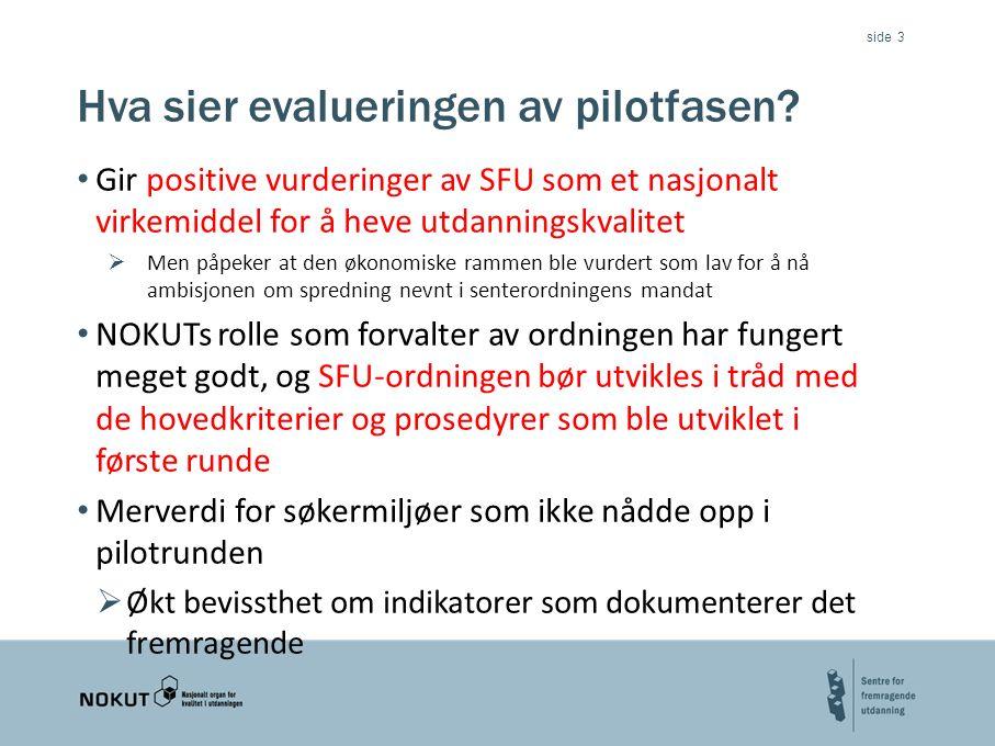 side Hva sier evalueringen av pilotfasen.