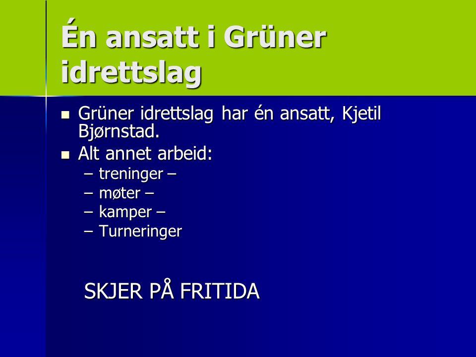 Én ansatt i Grüner idrettslag Grüner idrettslag har én ansatt, Kjetil Bjørnstad.