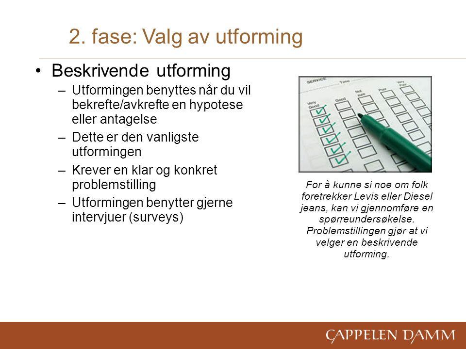 2. fase: Valg av utforming Beskrivende utforming –Utformingen benyttes når du vil bekrefte/avkrefte en hypotese eller antagelse –Dette er den vanligst