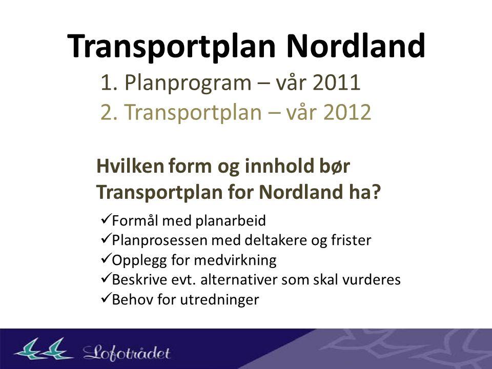 Transportplan Nordland Hvilken form og innhold bør Transportplan for Nordland ha.