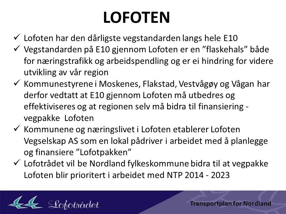 Noen relevante dokumenter Samferdselspolitiske hovedpunkter for Lofoten (Lofotrådet) Masterplan for reiselivet i Lofoten (Destinasjon Lofoten, Lofotrådet) Lofast – virkninger på næringsliv, reiseliv og flytrafikk … (TØI) Fiskerianalyse/Fiskeristrategier for Lofoten (Lofotrådet) Samferdselsutredning for nordre Nordland og Sør-Troms (Vegvesenet) For flere av dokumentene vil revisjon/oppdatering være aktuelt i tiden som kommer.