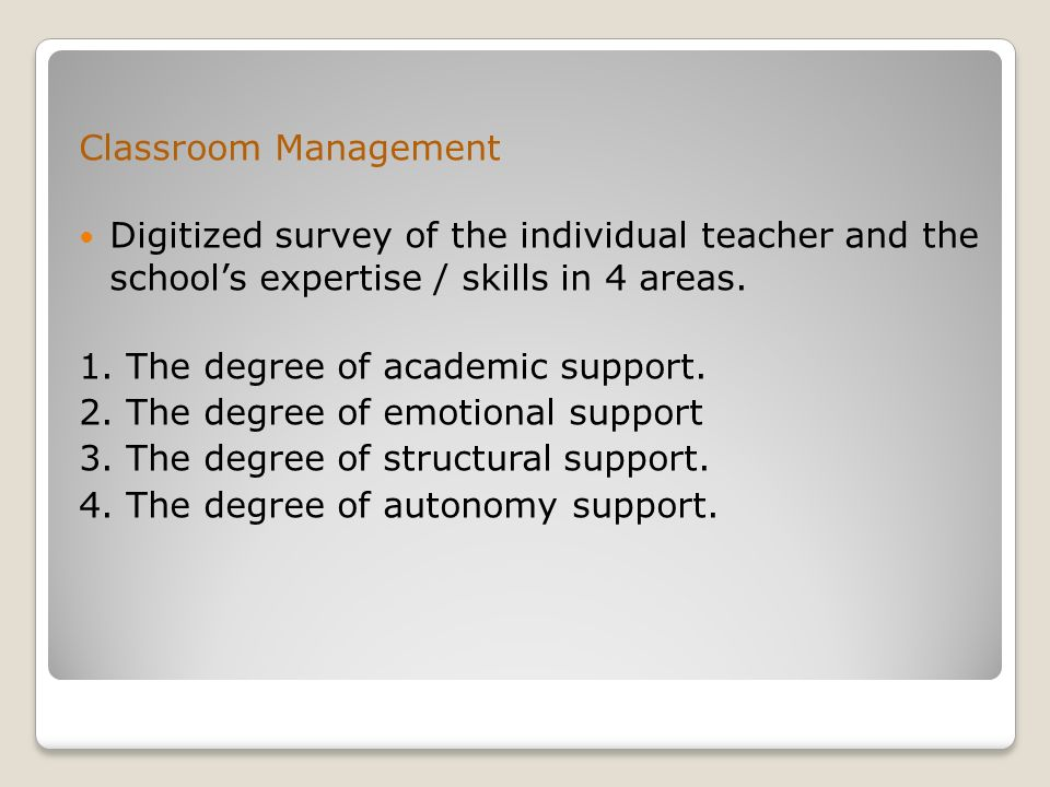 Classroom Management Digitized survey of the individual teacher and the school's expertise / skills in 4 areas. 1. The degree of academic support. 2.