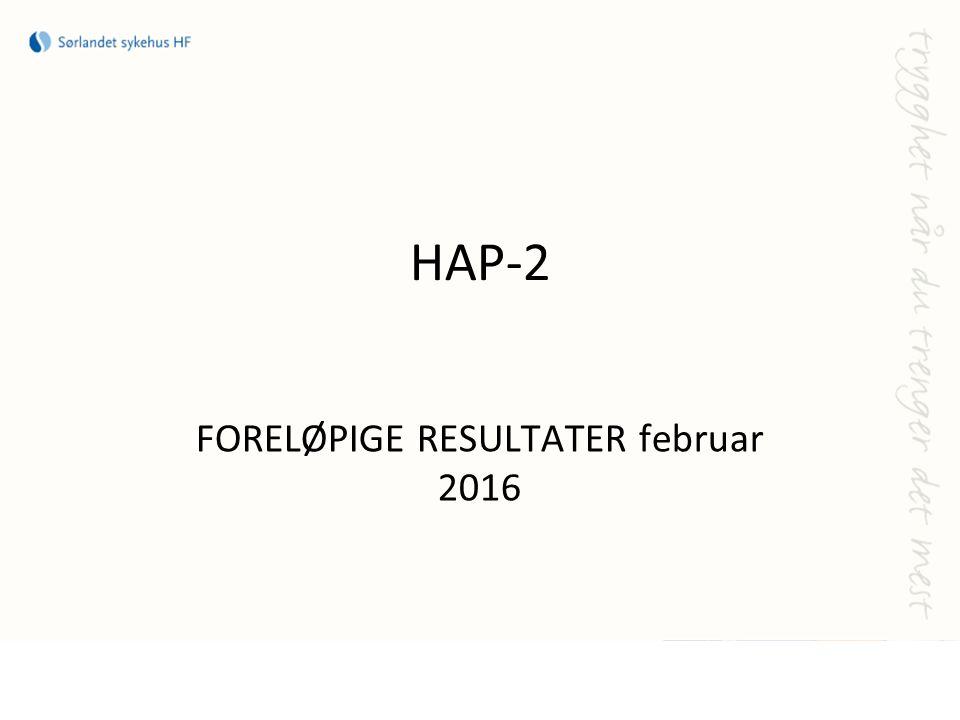 HAP-2 FORELØPIGE RESULTATER februar 2016